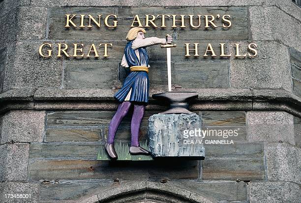 King Arthur's Great Hall entrance to the museum dedicated to the Arthurian legend Tintagel England Cornish Riviera Cornwall England United Kingdom