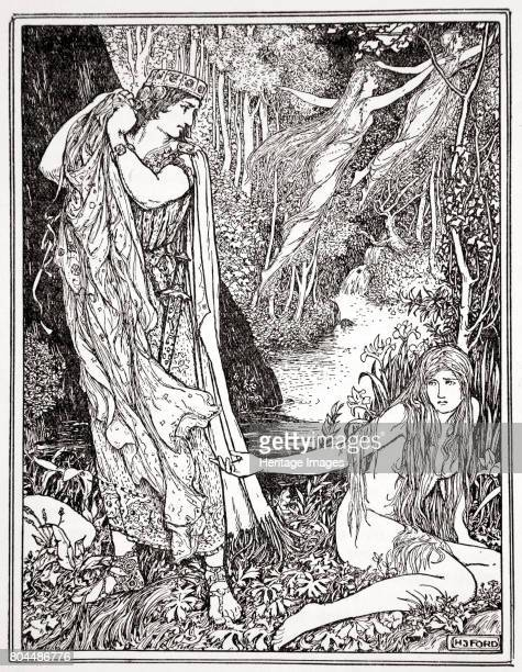 King Athamas steals Nephele's clothes so that she can't float away with her sister' 1926 A print from Tales of the Greek Seas by Andrew Lang 1926