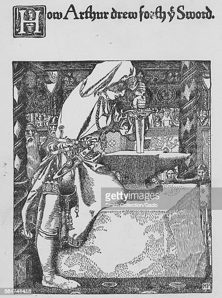 King Athhur pulling the sword Excalibur from the stone with caption reading How Arthur drew forth the sword 1900 From the New York Public Library