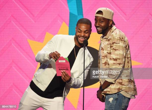 King Bach and DeStorm Power onstage during the 2017 Streamy Awards at The Beverly Hilton Hotel on September 26 2017 in Beverly Hills California