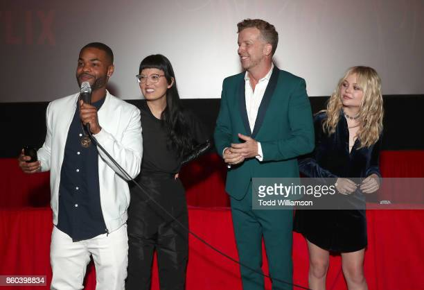 King Bach Hana Mae Lee McG and Emily Alyn Lind attend the Los Angeles Premiere of 'The Babysitter' on October 11 2017 in Los Angeles California