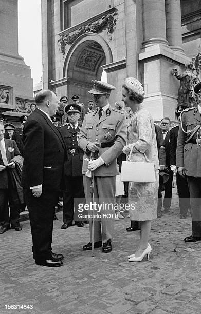 King Baudouin and Queen Fabiola at Belgium's National Day on July 21, 1961.