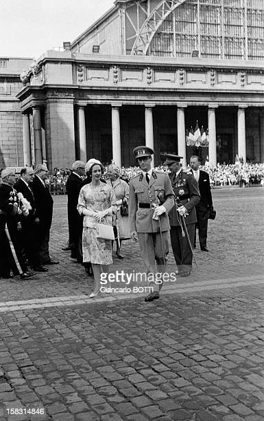 King Baudouin and Queen Fabiola at Belgium's National Day on July 21 1961
