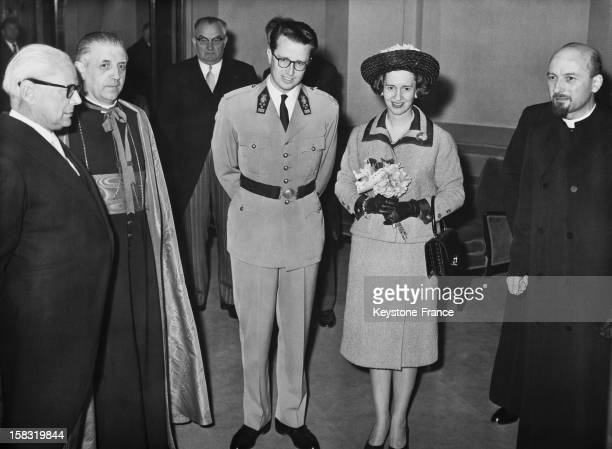 King Baudouin I Of Belgium and wife Queen Fabiola Of Belgium arrive at the Palace of Fine Arts in Brussels Belgium in 1962 for the commemoration of...