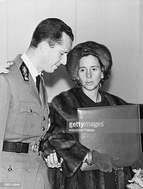 King Baudouin I Of Belgium and wife Queen Fabiola Of Belgium At Heysel Palace in Brussels Belgium during the 50th anniversary of the 1918 Victory in...
