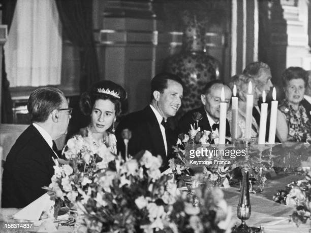 King Baudouin I Of Belgium and wife Queen Fabiola Of Belgium at the gala dinner in the Royal Palace of Brussels for NATO in Belgium