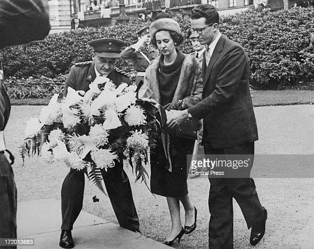 King Baudouin of Belgium and his fiance Dona Fabiola de Mora y Aragon lay a wreath on the Tomb of the Unknown Soldier Brussels 26th September 1960