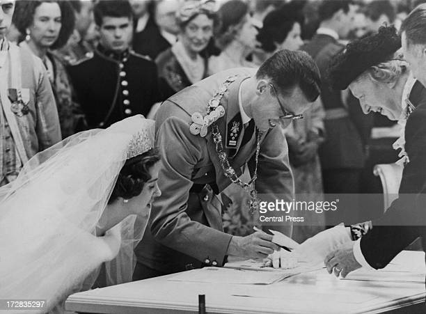 King Baudouin of Belgium and Queen Fabiola of Belgium at their civil wedding ceremony being held at the Royal Palace of Brussels 15th December 1960