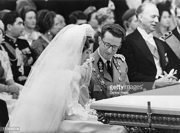 King Baudouin of Belgium and Queen Fabiola of Belgium during their civil wedding ceremony at the Royal Palace of Brussels 15th December 1960 ExKing...