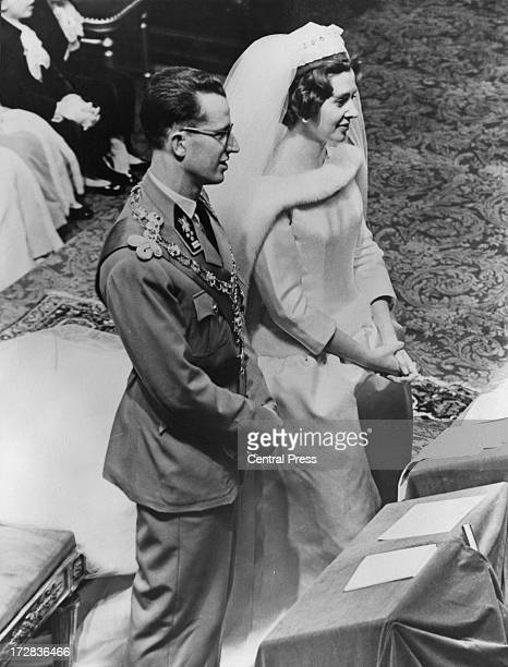 King Baudouin of Belgium and Queen Fabiola of Belgium during their wedding ceremony at the Cathedral of St Michael and St Gudula Brussels 15th...