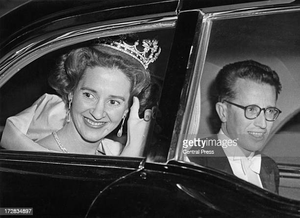King Baudouin of Belgium and Queen Fabiola of Belgium wave to crowds after their wedding ceremony Brussels 15th December 1960