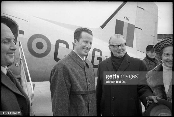 King Baudouin of Belgium arrives in Berne-Belpmoos, 1971