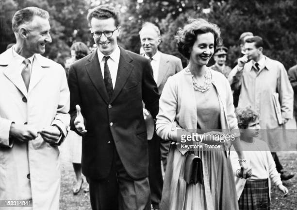King Baudouin Of Belgium presents his fiancee Dona Fabiola Of Spain to the press in the castle of Ciergnon Belgium on September 17 1960