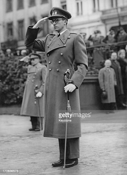 King Baudouin of Belgium salutes at the Armistice Day Ceremony in Brussels 12th November 1956
