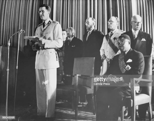 King Baudouin of Belgium , speaking at the Congo Independence celebrations in Leopoldville , 30th June 1960. On the far right is President of the new...