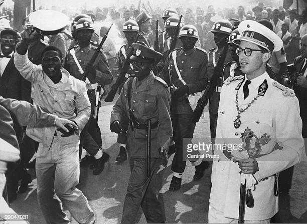 King Baudouin of Belgium taking part in Independence celebrations in Leopoldville Congo 30th June 1960 Formerly known as the Belgian Congo the...