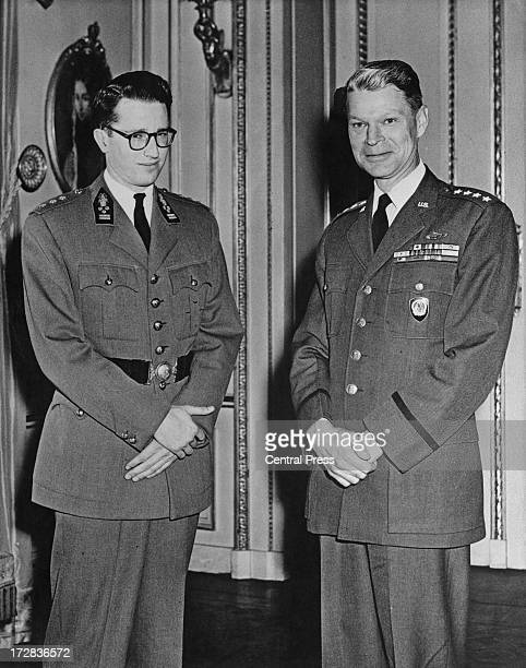 King Baudouin of Belgium with General Lauris Norstad Supreme Allied Commander when the General received an official call to the Royal Palace Brussels...