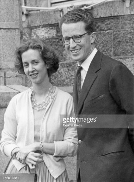 King Baudouin of Belgium with his fiance, Dona Fabiola de Mora y Aragon, at Ciergnon Castle, Belgium, 19th September 1960.