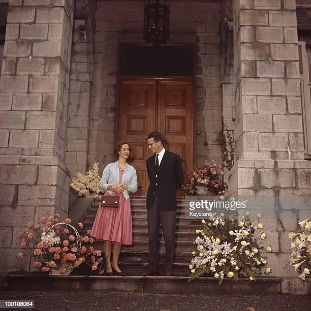 King Baudouin of Belgium with his fiance Fabiola de Mora y Aragon outside Ciergnon Castle, Belgium, 1960.