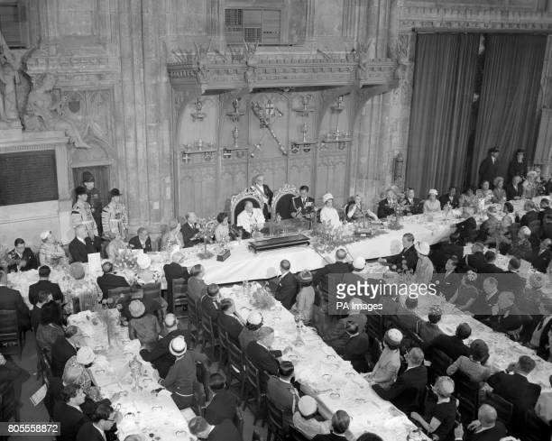 King Bhumibol Aduladej is seen speaking in the Guildhall after the lunch given by the Lord Mayor and Corporation of London in honour of the King and...