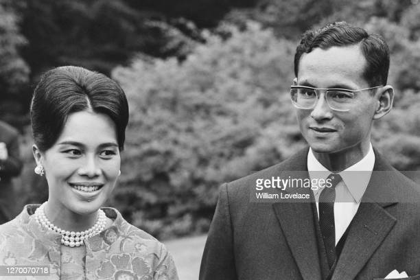 King Bhumibol Adulyadej and Queen Sirikit of Thailand at their private residence in Sunninghill, Berkshire, July 1966.