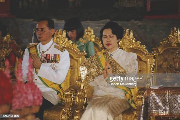 King Bhumibol Adulyadej and Queen Sirikit of Thailand, Thailand, circa 1987.