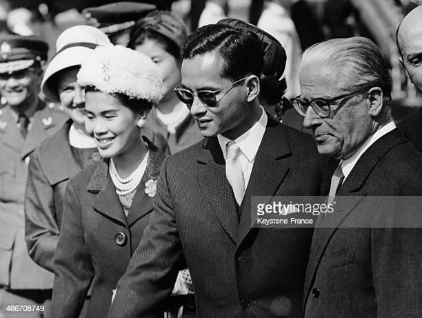 King Bhumibol Adulyadej of Thailand aka Rama IX and wife Queen Sirikit Kitiyakara with Italian president Giovanni Gronchi in Rome Italy during an...