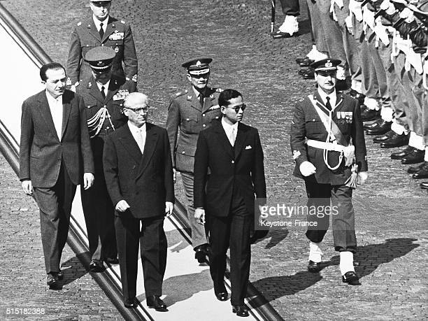 King Bhumibol Adulyadej of Thailand aka Rama IX with Italian president Giovanni Gronchi in Rome Italy during an official visit of King Bhumibol...