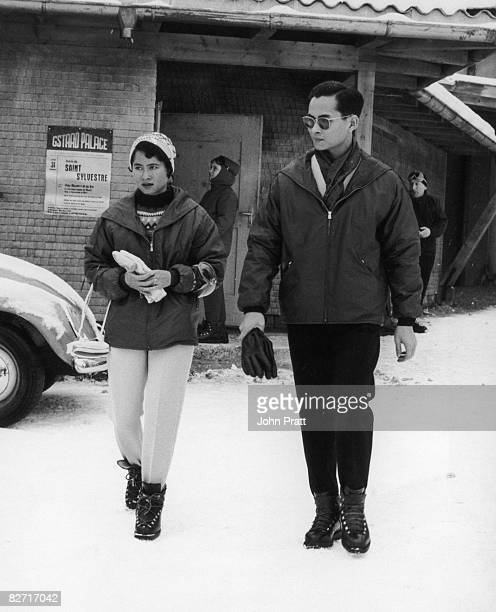 King Bhumibol Adulyadej of Thailand with his sister Princess Kalyani during a holiday in Gstaad 2nd January 1961