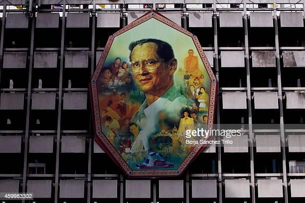 King Bhumibol Adulyadej portrait is seen at Siriraj Hospital on December 5, 2014 in Bangkok, Thailand. Thailand celebrates their King's 87th Birthday...