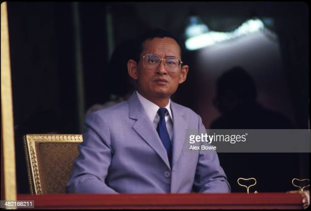 King Bhumibol Adulyadej seen during the visit of Malcolm Forbes US publisher of Forbes magazine during the launch of a US$80 90foottall...