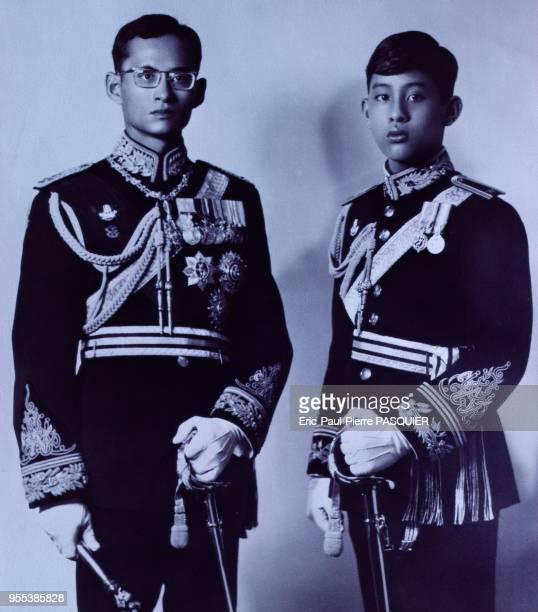 King Bhumibol Adulyadej with his son, Crown Prince Vajiralongkorn.