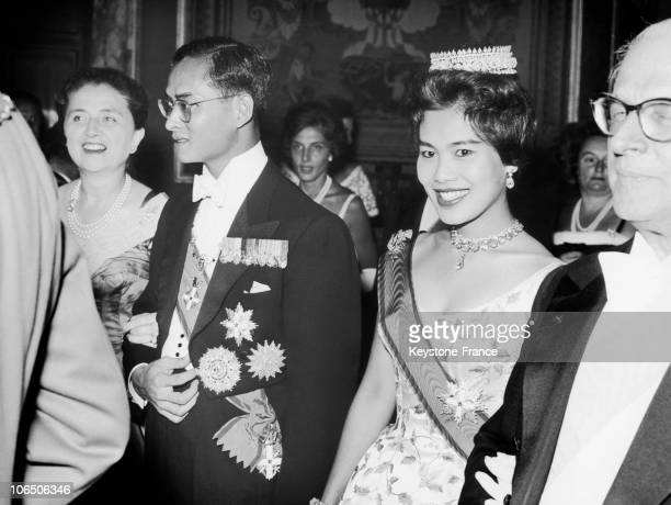 King Bhumibol And Queen Sirikit At Quirinal Palace Where A Party Is Organized To Their Honor