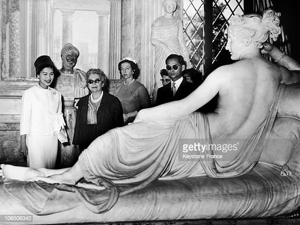 King Bhumibol And Queen Sirikit Before A Statue Of Paolina Borghese Shown In Borghese Museum In Rome