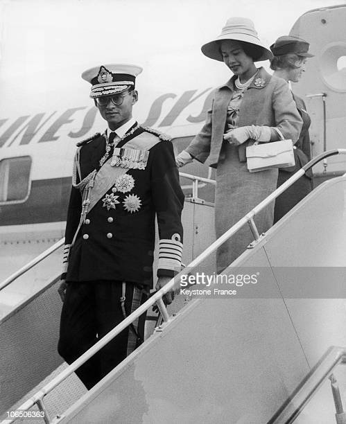 King Bhumibol And Queen Sirikit Getting To Gatwick Airport On An Official Visit To Queen Of England And Prince Philip