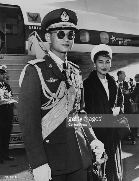 King Bhumibol and Queen Sirikit of Thailand arrive at Wellington Airport in New Zealand for an eightday tour August 1962 From there they will journey...