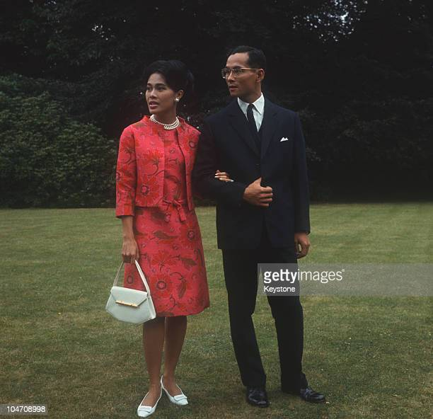 King Bhumibol and Queen Sirikit of Thailand at King's Beeches their private residence in Sunninghill Berkshire on July 27 1966