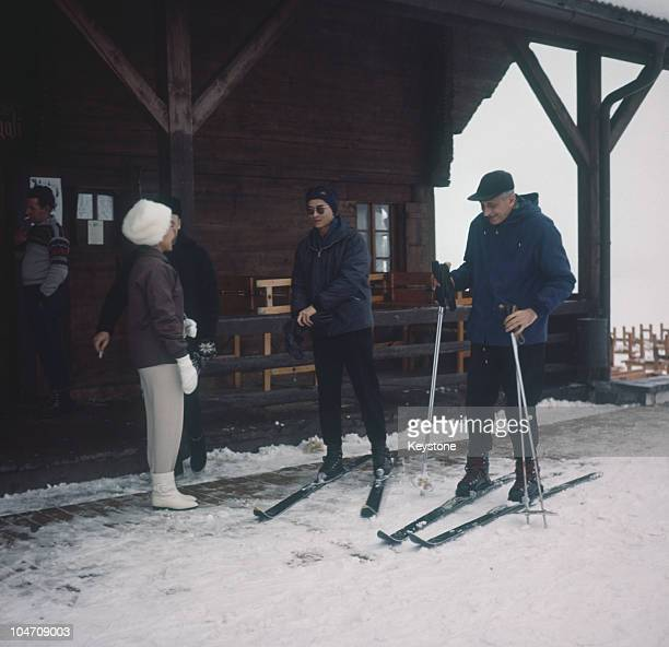 King Bhumibol and Queen Sirikit of Thailand on holiday in Gstaad Switzerland in 1960