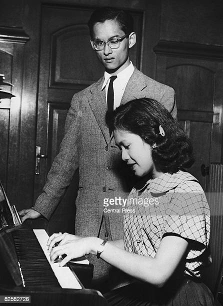 King Bhumibol of Thailand with his fiancee, Sirikit, in Lausanne, where the King is a student, 13th September 1949.