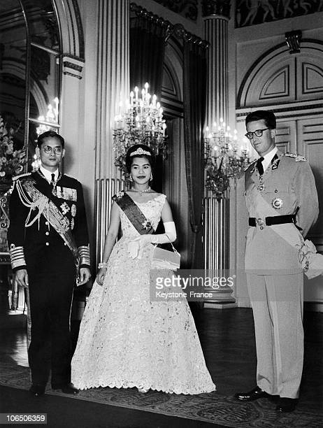 King Bhumibol Queen Sirikit And King Baudouin I Of Belgium
