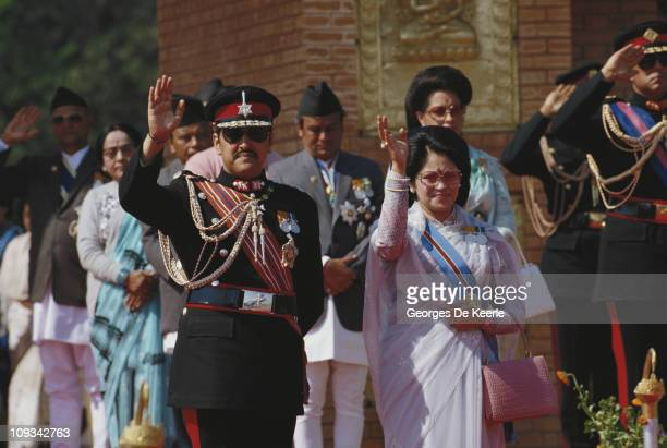 King Birendra and Aishwarya of Nepal during a visit by Queen Elizabeth II to Nepal 21st February 1986