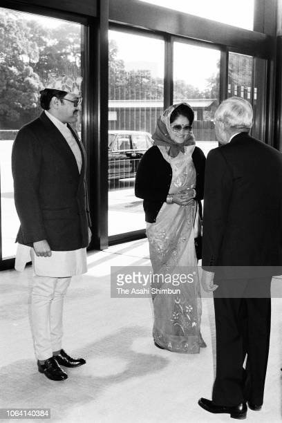 King Birendra and his wife Queen Aishwarya of Nepal are welcomed by Emperor Hirohito prior to their meeting at the Imperial Palace on December 26...