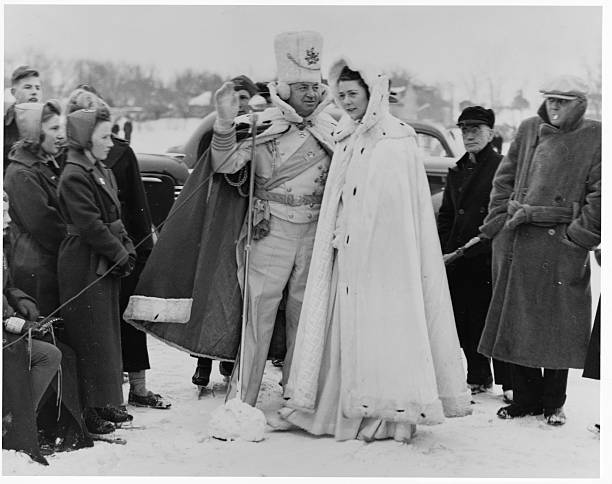 King Boreas with the Queen of Snows at the St Paul Winter Carnival of 1940