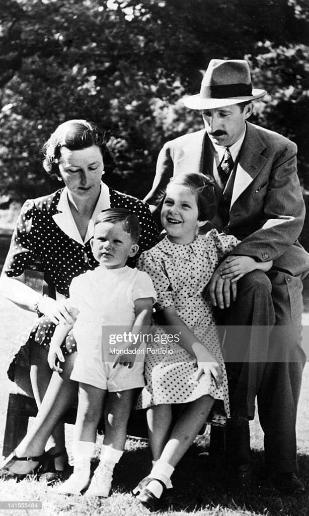 King Boris III of Bulgaria sitting with his wife Giovanna of Savoy and his children Maria Luisa and Simeon in the garden of the Royal Palace in Sofia. Sofia, September 1939