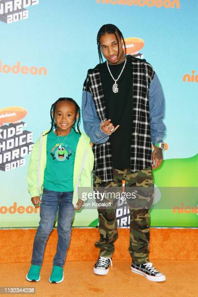 King Cairo and Tyga attend Nickelodeon's 2019 Kids' Choice Awards at Galen Center on March 23 2019 in Los Angeles California