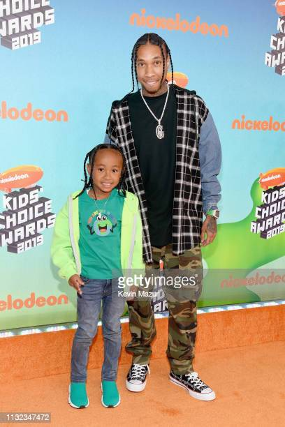 King Cairo Stevenson and Tyga attend Nickelodeon's 2019 Kids' Choice Awards at Galen Center on March 23 2019 in Los Angeles California