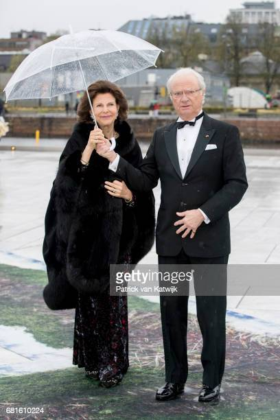 King Carl Gustaf and Queen Silvia of Sweden arrive at the Opera House on the ocassion of the celebration of King Harald and Queen Sonja of Norway...