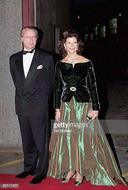 King Carl Gustaf And Queen Silvia Of Sweden Arriving For 'the Royal Gala' At The Royal Festival Hall In London To Celebrate The British Monarch's...