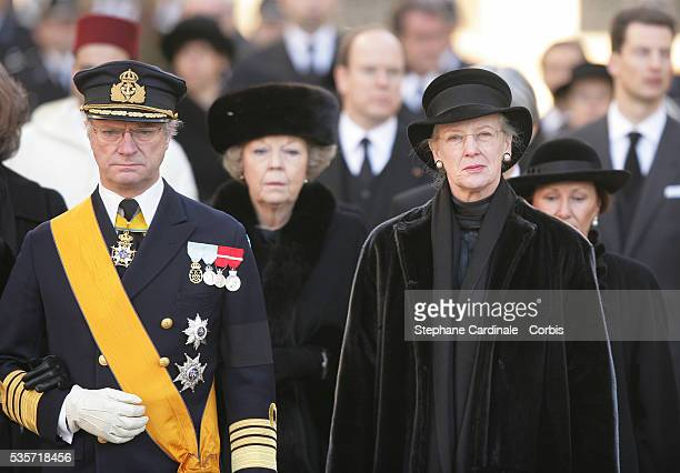 HRH King Carl Gustaf of Sweden and HRH Queen Margrethe of Danemark attend the funeral of Grand Duchess of Luxembourg JosephineCharlotte daughter of...