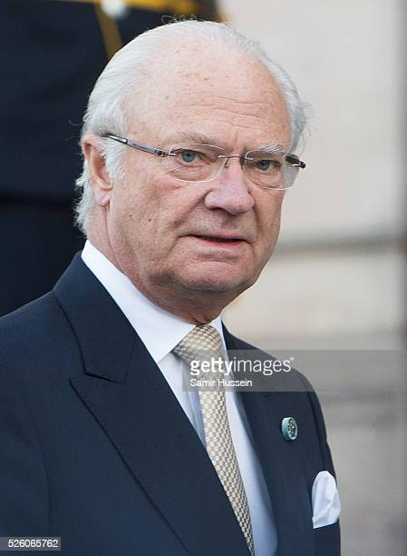 King Carl Gustaf of Sweden and Queen Silvia of Sweden arrive at the Nordic Museum to attend a concert of the Royal Swedish Opera and Stockholm...